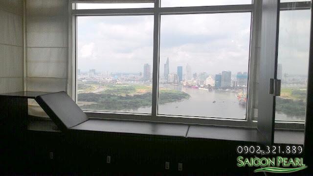 View đep phòng ngủ căn hộ Saigon Pearl 86m2 cho thuê