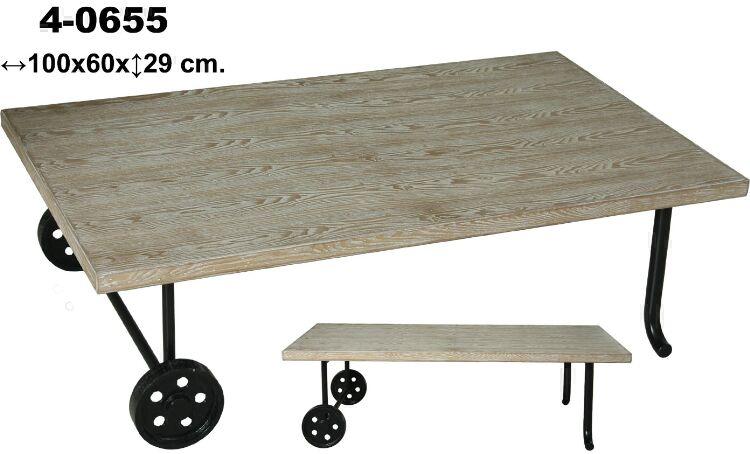 Muebles de forja mesas de centro con ruedas serie agmar - Mesas con ruedas de carro ...