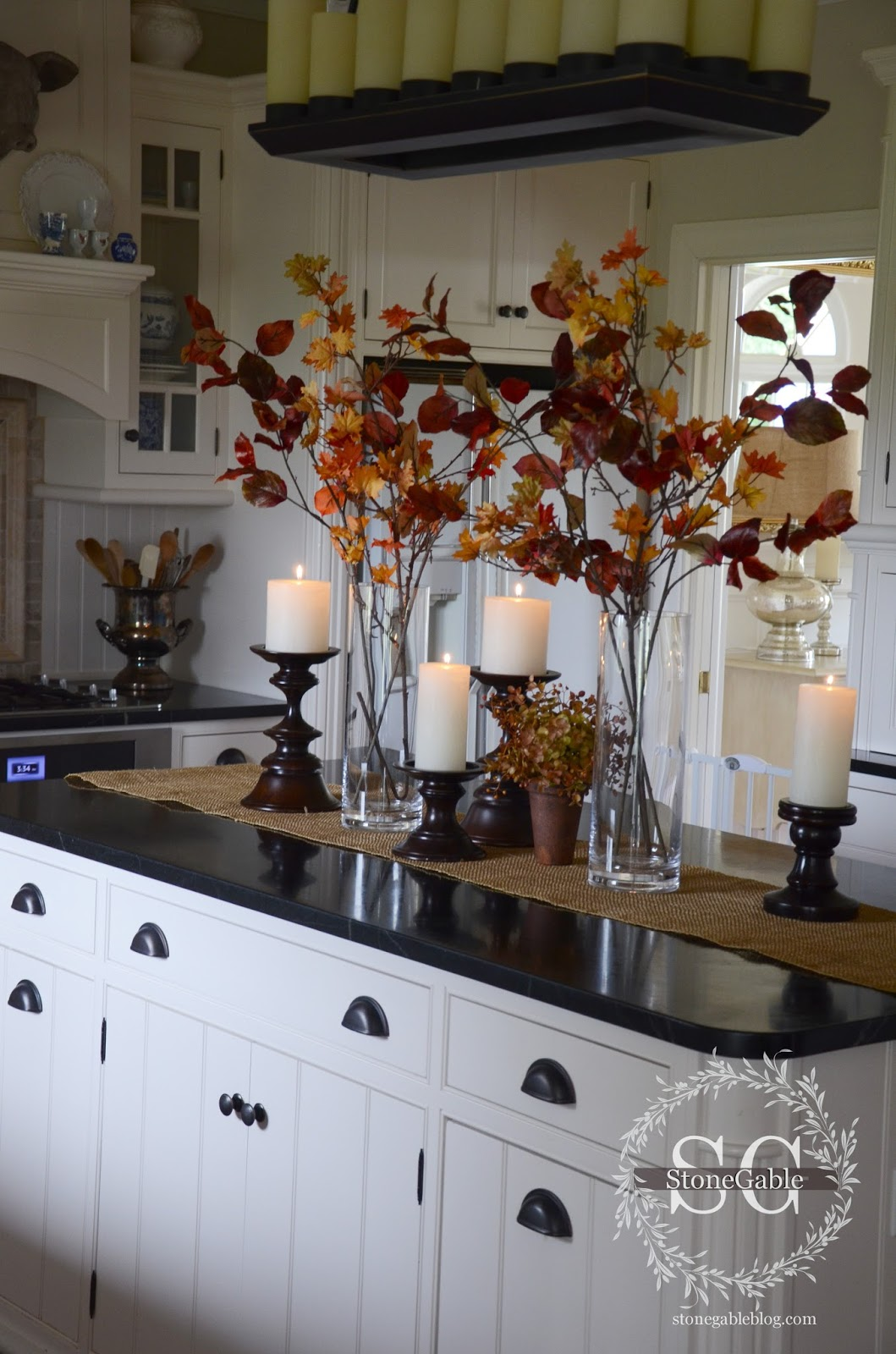 All about the details kitchen home tour stonegable for Small kitchen table centerpiece ideas