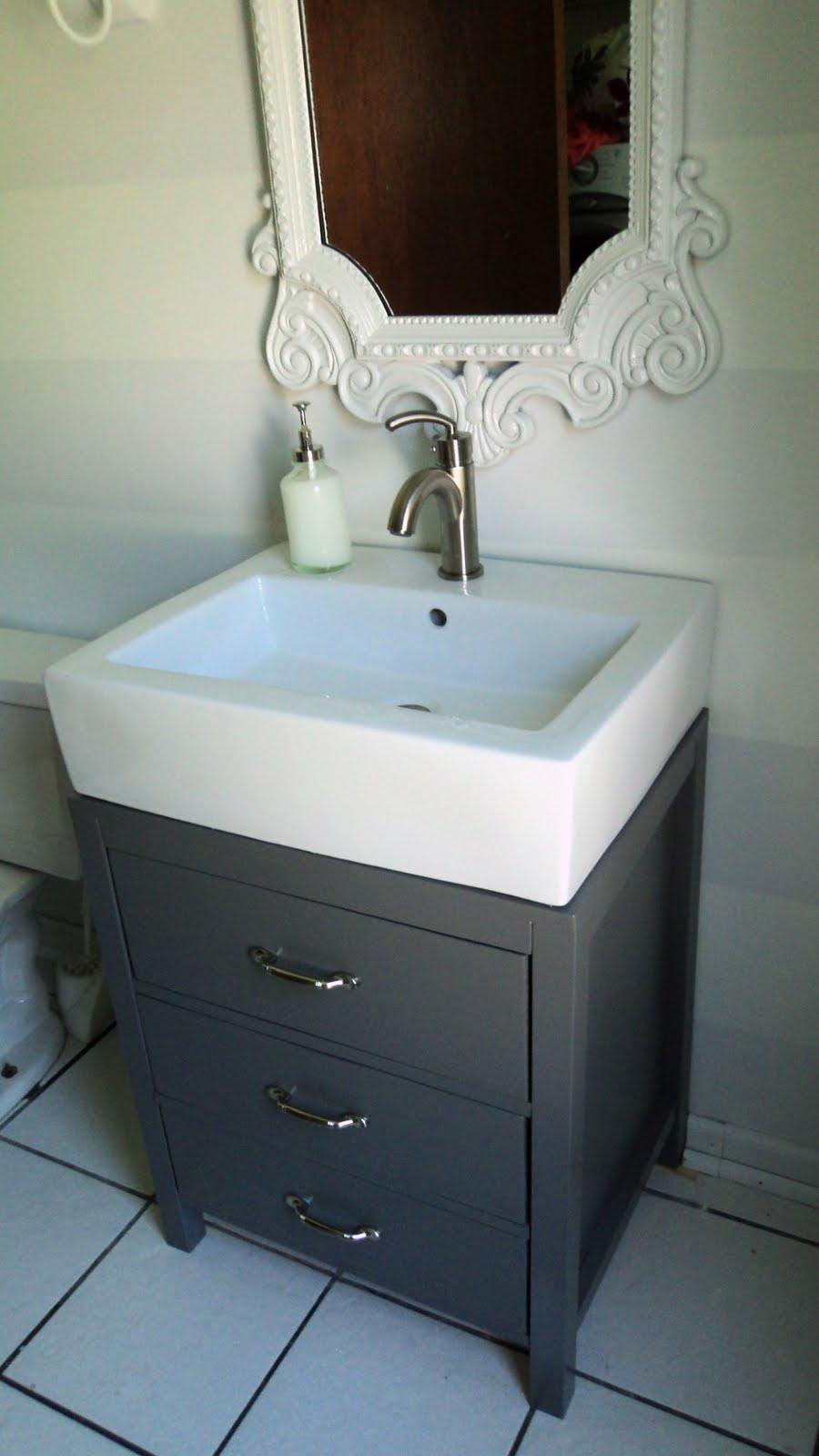Half Bathroom Vanity Remodelaholic Cute Striped Wall Update For Half Bath