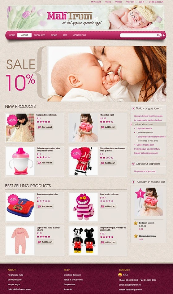 thiết kế website bán hàng cho bé