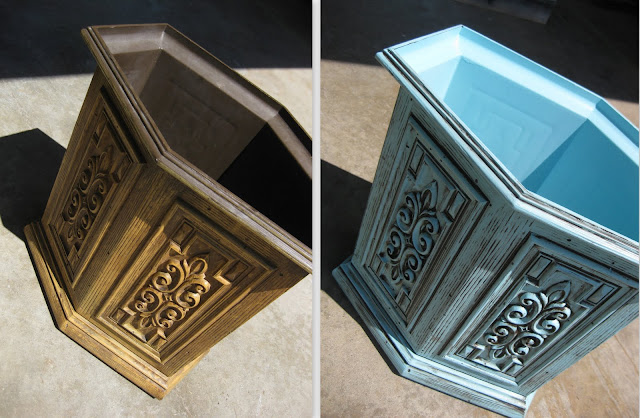 The before and after photo of our wastebasket used for the DIY glazing and antiquing furniture tutorial.