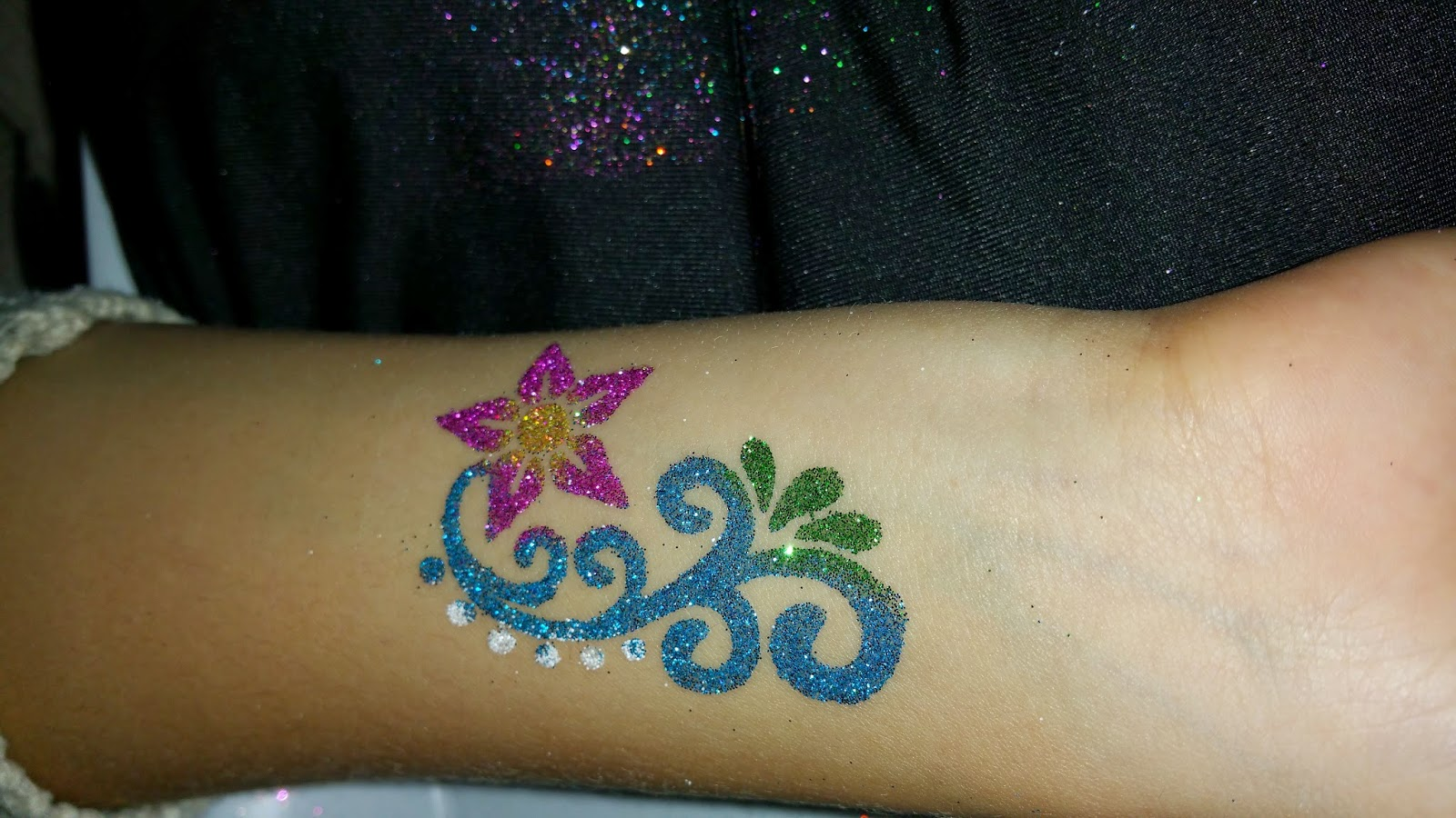 Glitter Tattoo at Miranda's Ball