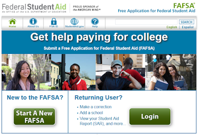snapshot of fasfa.gov web home page.  Text: Get help paying for college