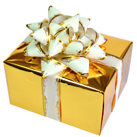 Small Golden gift box with transparent background