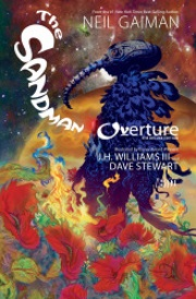 Cover of The Sandman: Overture, featuring a masked, black-robed figure standing in a field of red flowers with a glowing orange planet in the background.