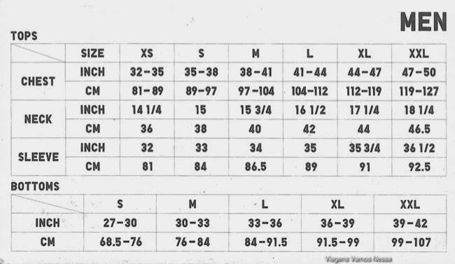 medidas masculina em inches centimetros e tamanho