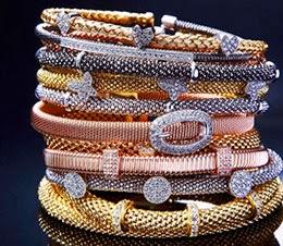 braceletes italianos Rosa Leal  em rose prata ouro e ródio
