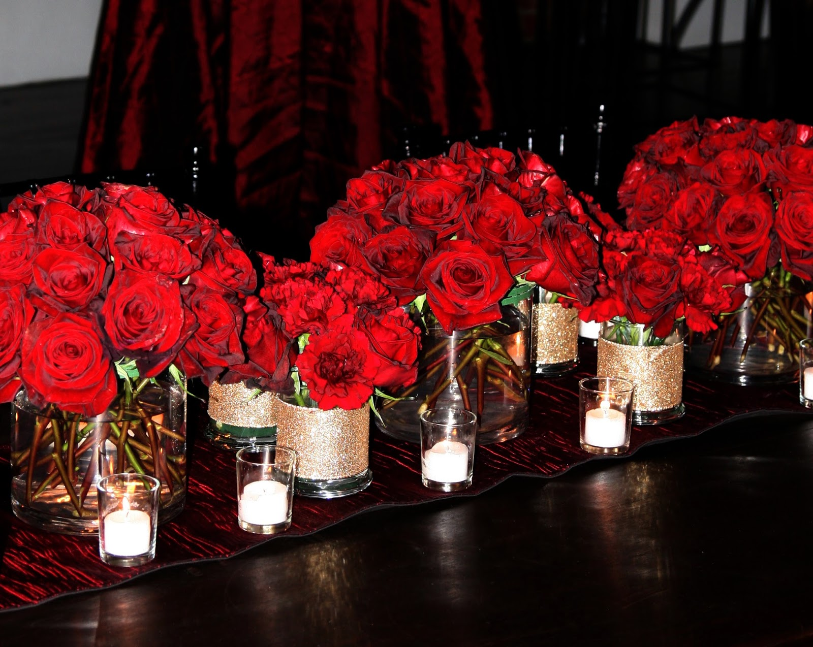 Candle lit winter wedding studio in bloom