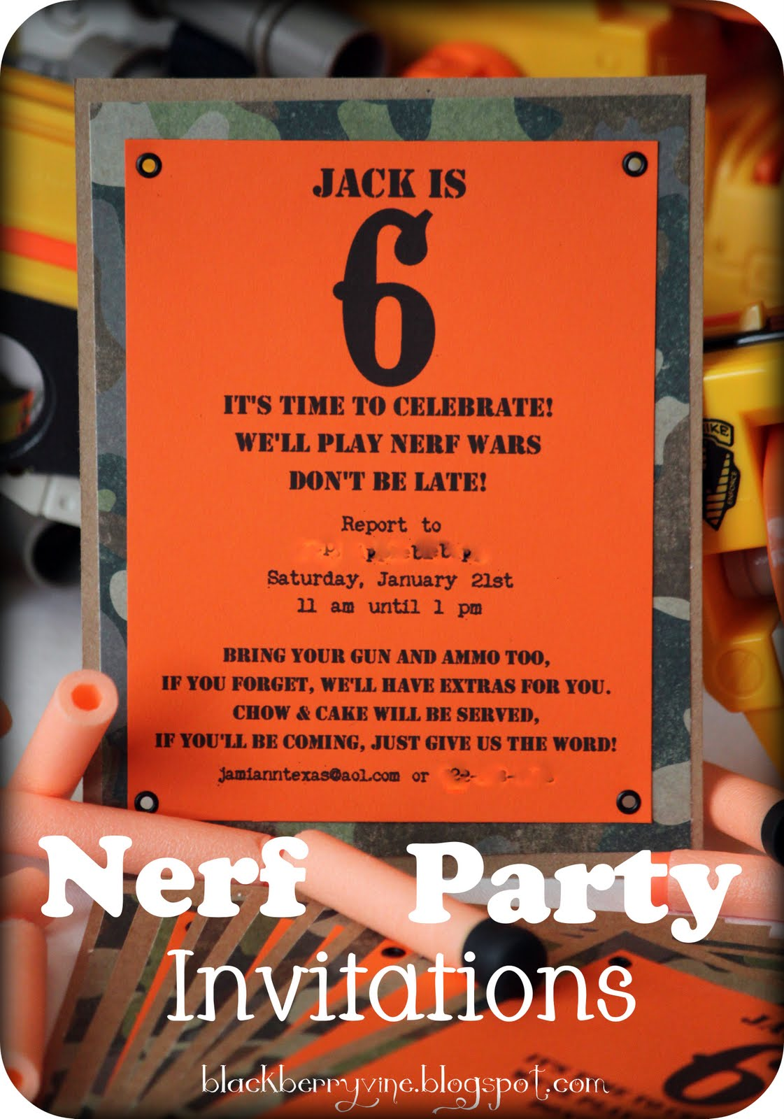 This is a picture of Ambitious Free Printable Nerf Party Invitations