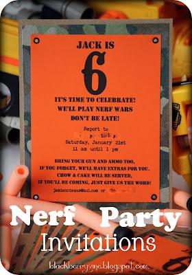 The Blackberry Vine Nerf Party Invitation