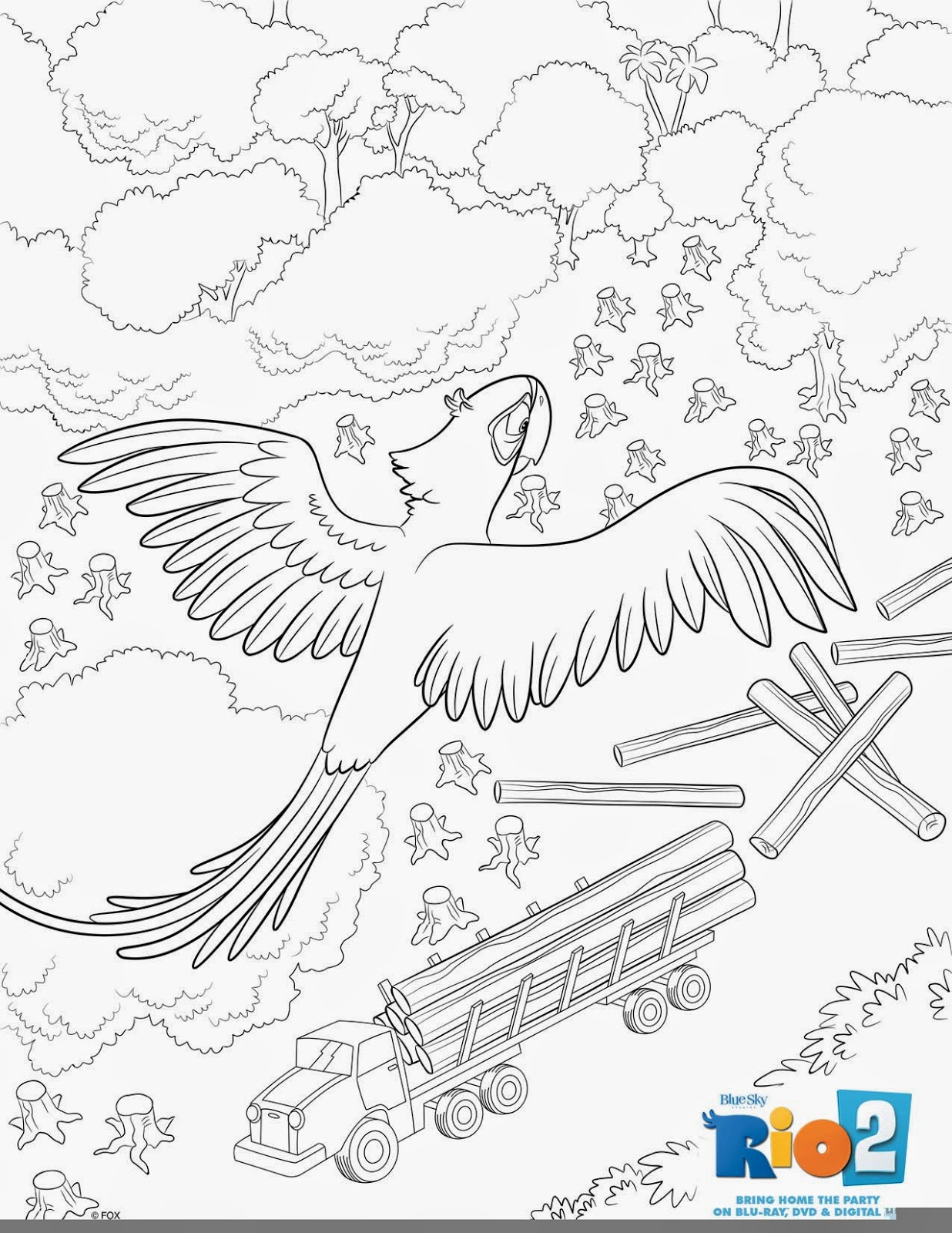 rio blu coloring pages - heck of a bunch rio 2 activity and coloring sheets