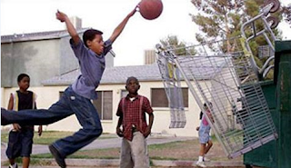 funny picture children playing basketball