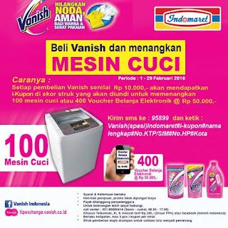 Undian Vanish Indomaret 2016 Berhadiah 100 Mesin Cuci dan 400 Voucher Belanja