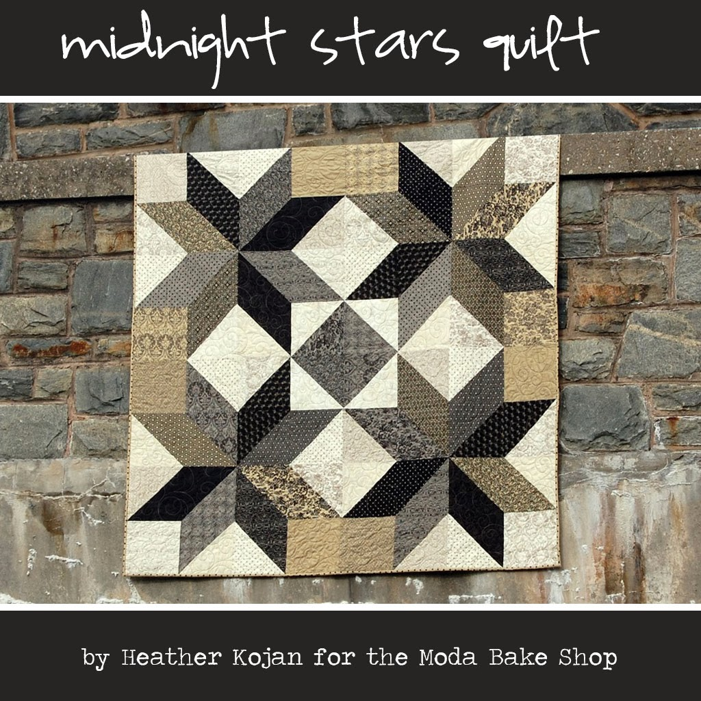 Cabbage corner midnight stars quilt tutorial plus little for Black white and gray quilt patterns