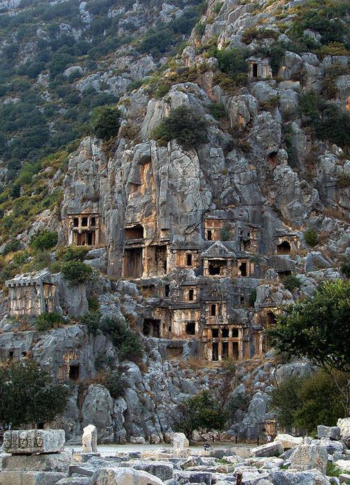 Cut rock tombs in Myra, an ancient town in Lycia, Turkey