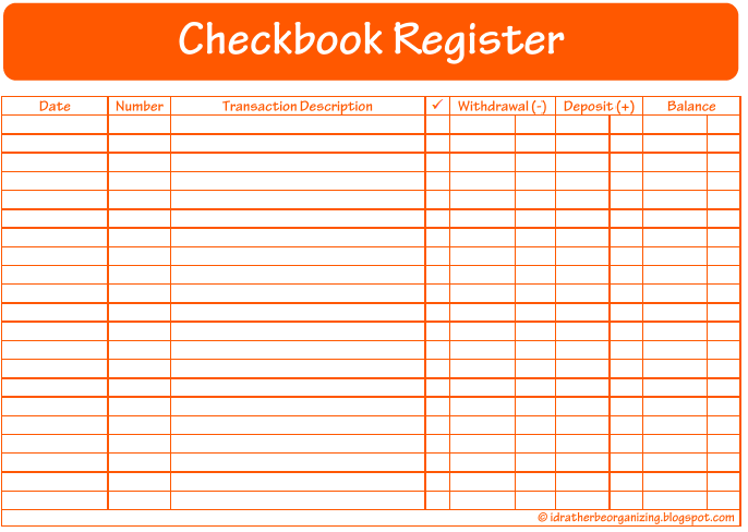 ... Be Organizing: 52 Weeks of Printables: Week 12 - Checkbook Register