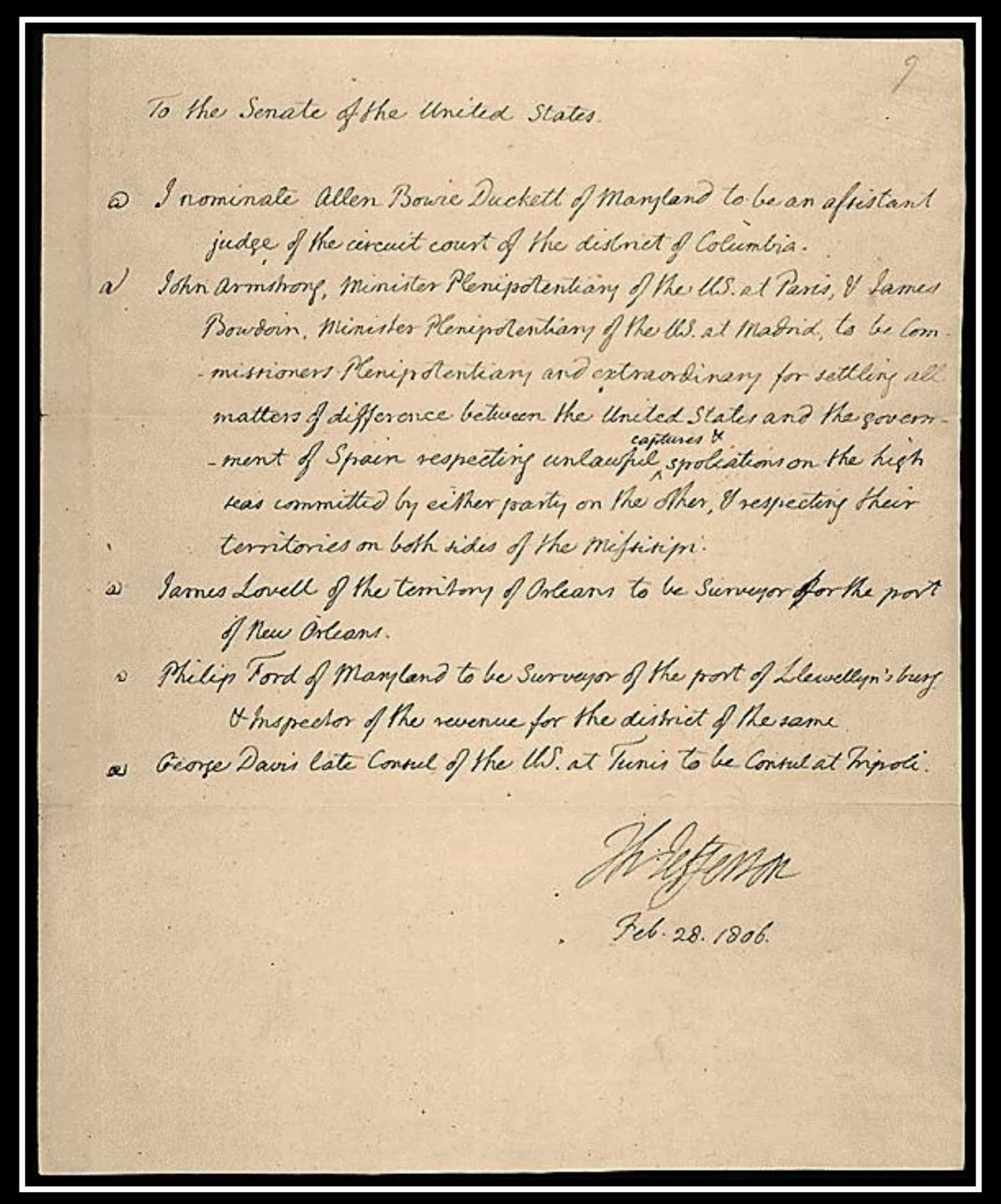 president thomas jefferson statesman thomas jefferson thomas jefferson letter submitting various executive nominations to the us senate for their advice and consent