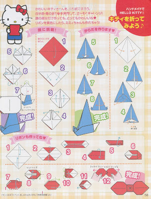 Free printable Hello Kitty step-by-step origami tutorial for paper arts and crafts