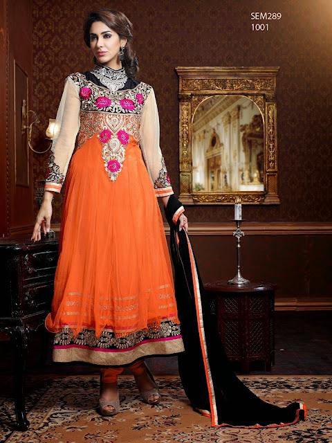 New Stylish Embroidered Semi Stitched Anarkali Suit