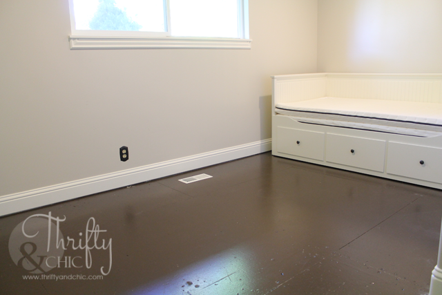 Make your plywood sub-floor look like hardwood! Great solution when you are waiting to get new flooring but don't want your old stuff anymore