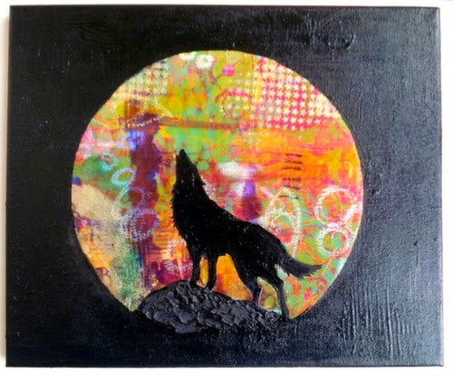 Carmen Wing - Mixed Media Wolf on canvas