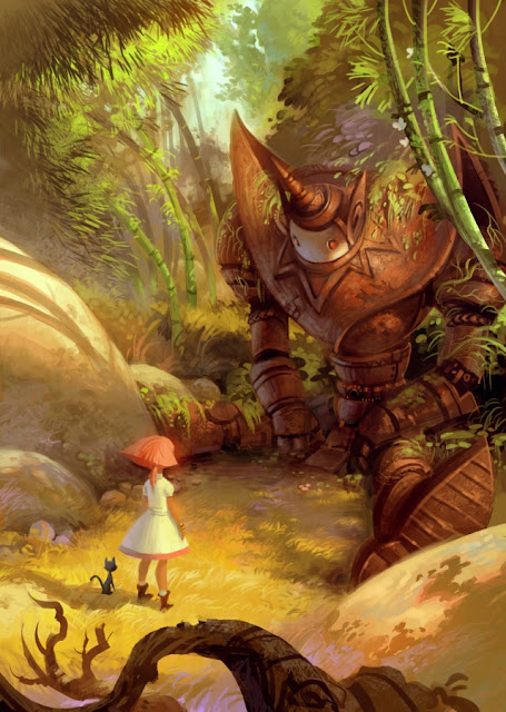 digital art robot, fantasy girl,little girl