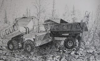 pencil drawing on paper, leftover toy trucks, http://huismanconcepts.com/