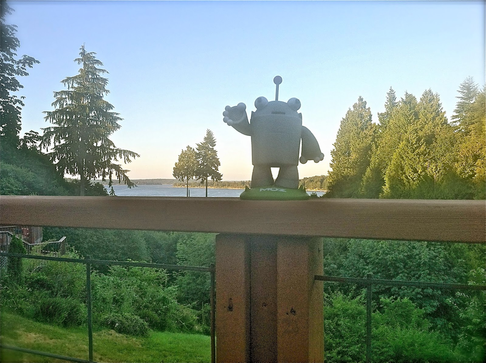 Roger MozBot waving hello from a deck on Eld Inlet, Puget Sound.