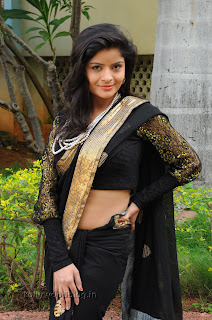 Gehana Vasista in black saree Pictures 013.jpg