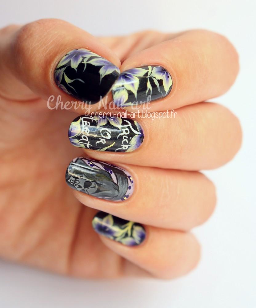 nail art halloween la faucheuse et fleurs au one stroke