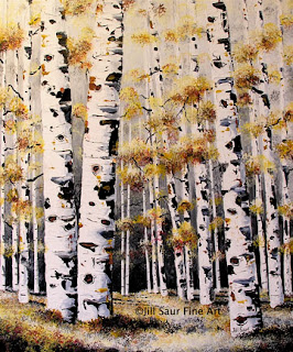 winter birch tree paintings