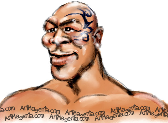 Mike Tyson caricature cartoon. Portrait drawing by caricaturist Artmagenta