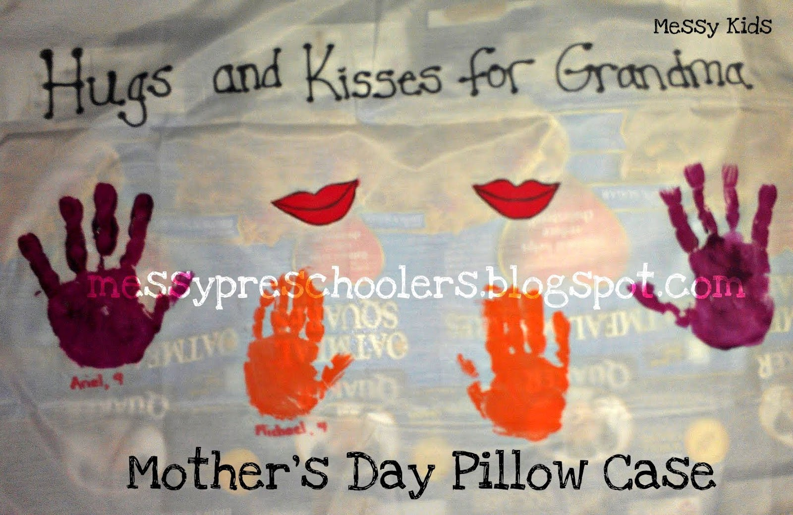 messy kids diy mother u0027s day pillowcases