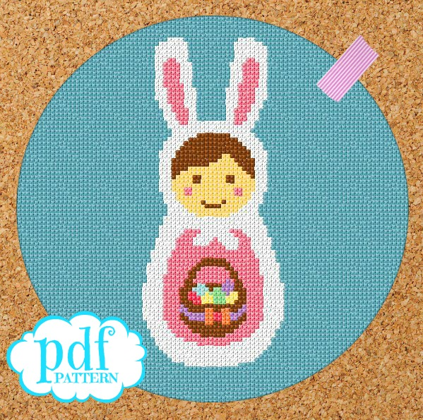 Free Babushka Bunny cross stitch pattern