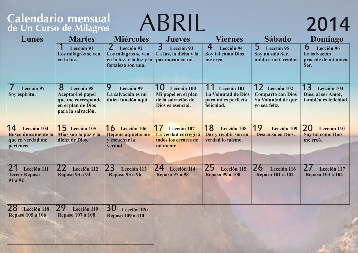 Calendario Abril 2014