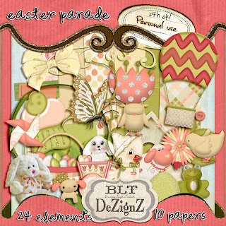 "Free scrapbook full size kit ""Easter Parade"" from Blt Dezignz"
