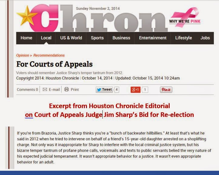 Houston Chronicle reminds area voters of Justice Jim Sharp's temper tantrum