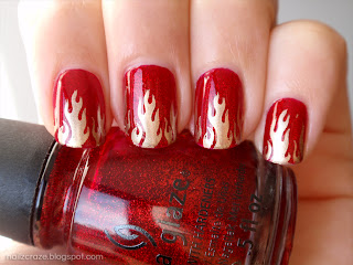 china glaze ruby pumps red glitter cheeky ch52 plate barry m gold foil