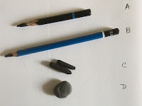 Charcoal tools used for sketching by Manju Panchal