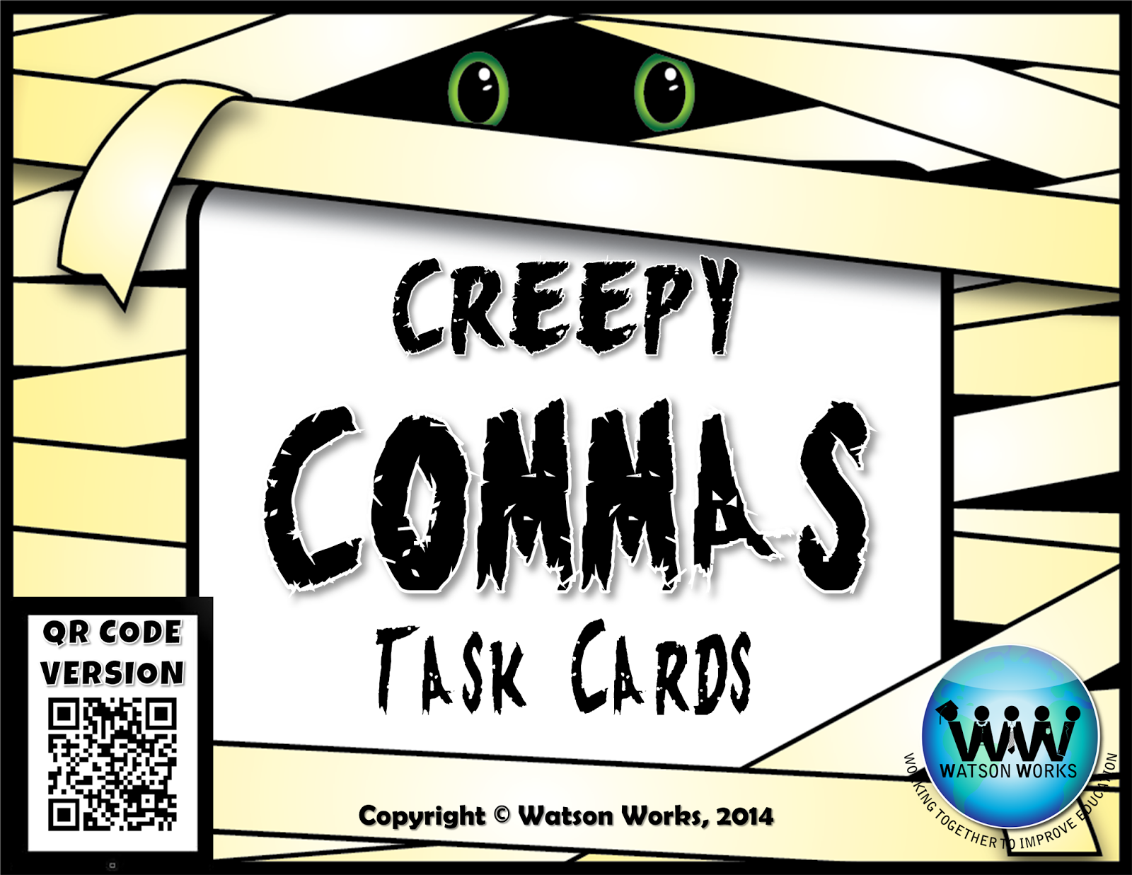 http://www.teacherspayteachers.com/Product/Creepy-Commas-Task-Cards-QR-Code-Version-1502715