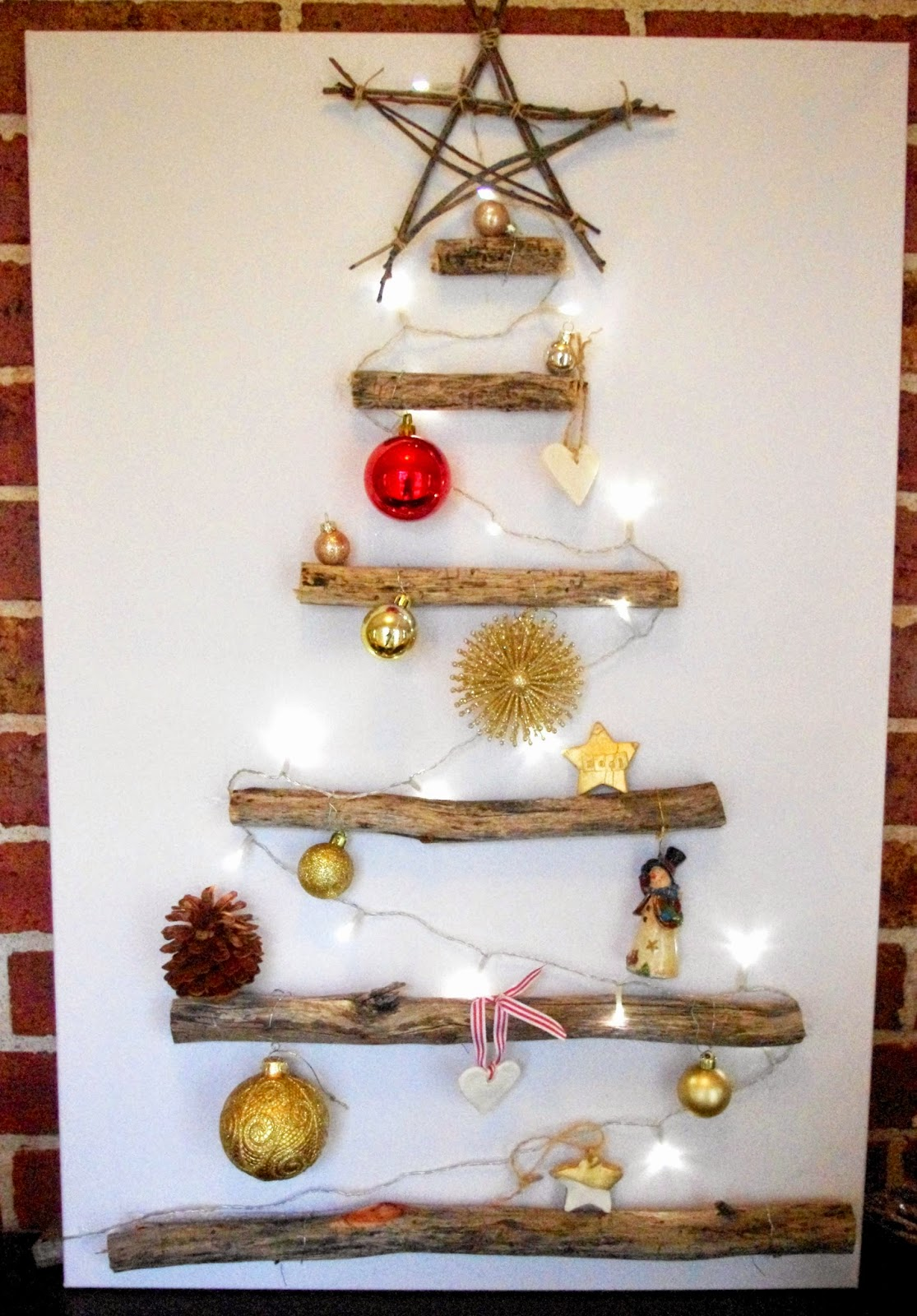 Homemade craft - christmas tree on canvas