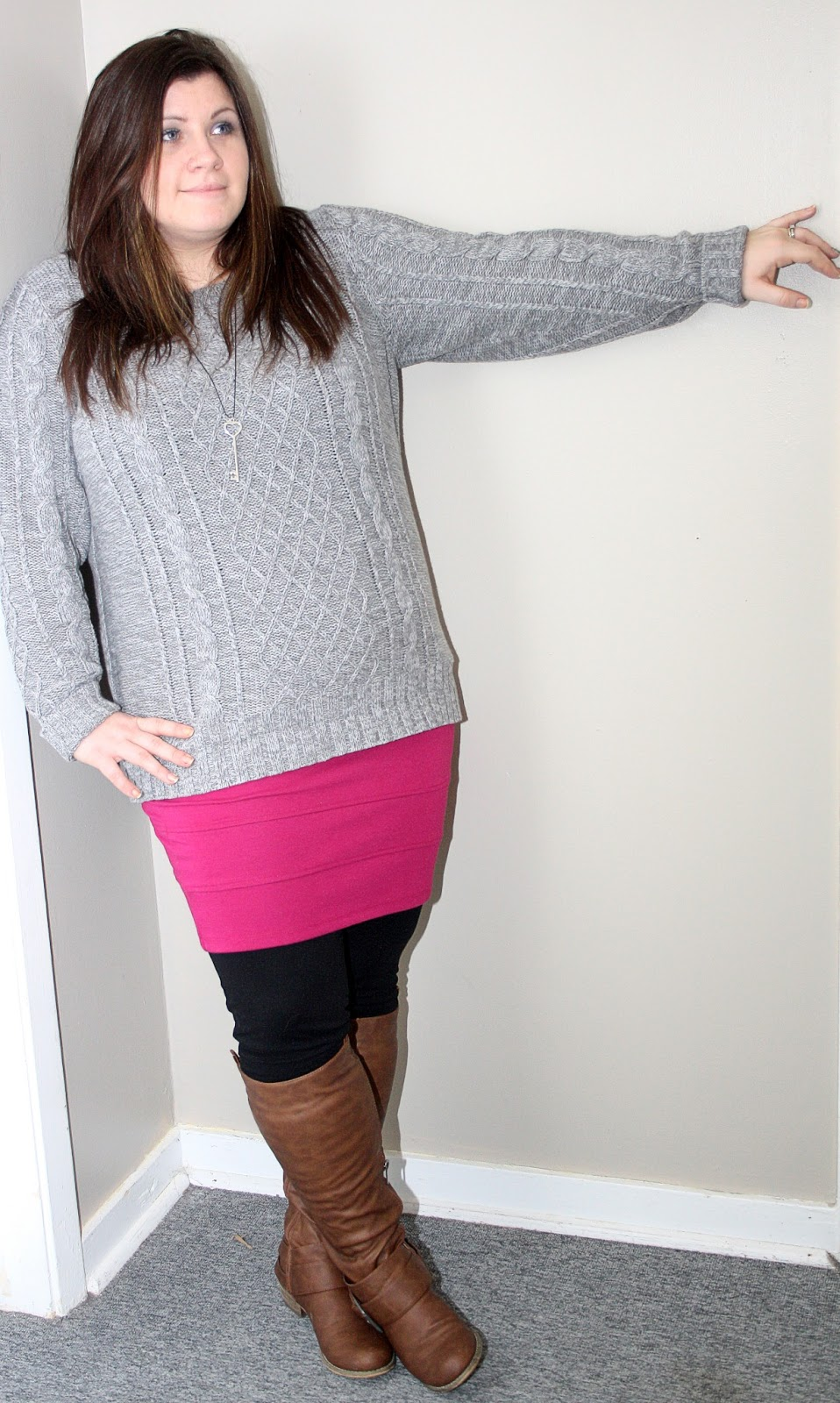 april pink beauty: curvy girl fashion - cozy winter casual