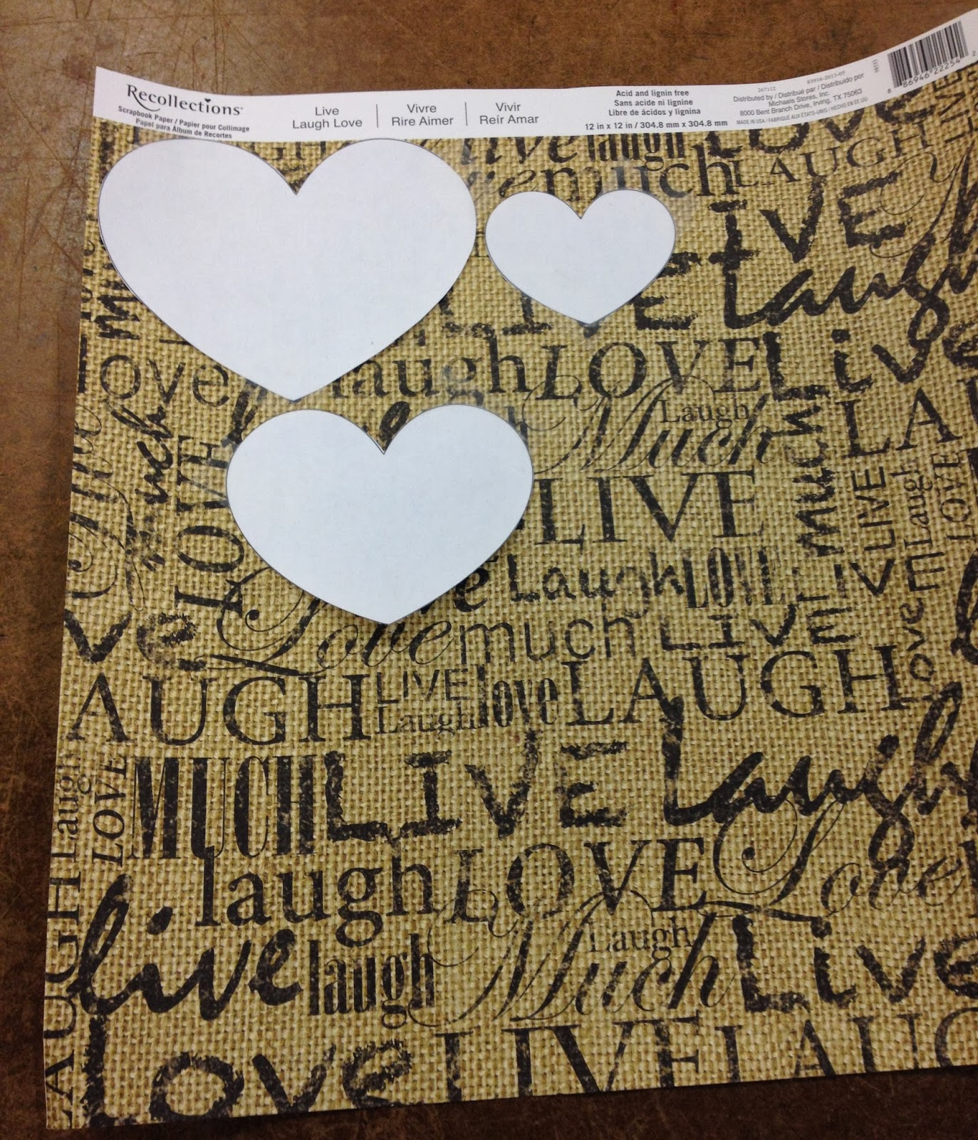 Scrapbook paper wall art - I Positioned The Hearts In Place