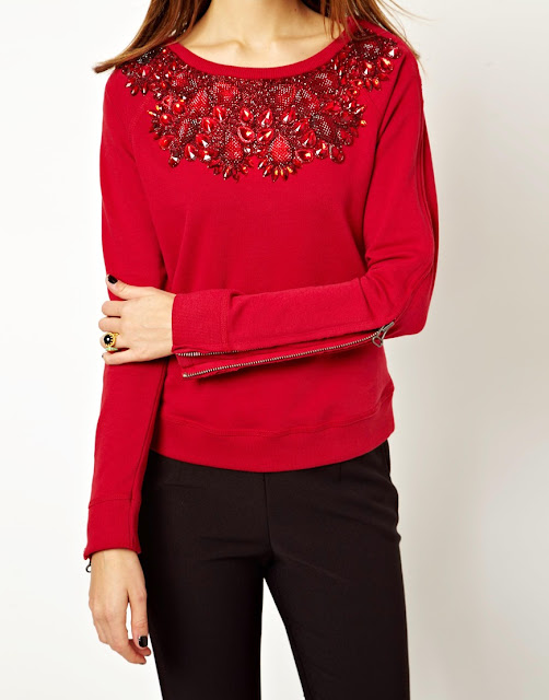 red embellished top with zip detail
