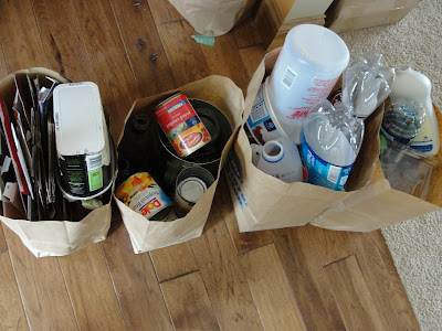recyclables in paper grocery bags