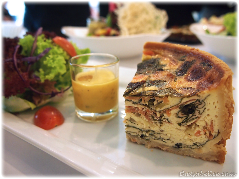 Smoked salmon and spinach quiche at Signature Cafearo