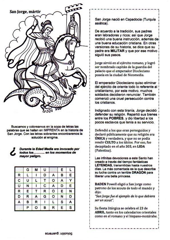La Catequesis (El blog de Sandra): Recursos Catequesis San Jorge ...