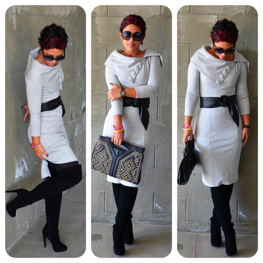 diy dress using v8408 thigh high boots fashion