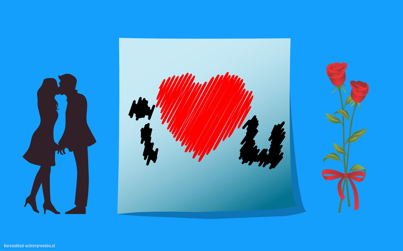 Blauwe achtergrond over liefde met een liefdes hartje bureaublad blauwe achtergrond over liefde met man vrouw rozen en een briefje met de tekst i love you en een liefdes hartje voltagebd Images